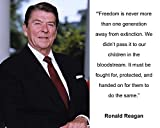 "Ronald Reagan ""Freedom is never"" Quote 8x10 Photo"