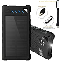 Solar Phone Charger, Power bank and Backup Battery for Cell Phone and other Devices such iPhone, Samsung and Android phones. Waterproof Dustproof, Shockproof with Fast Charging. Includes Bonus LED La