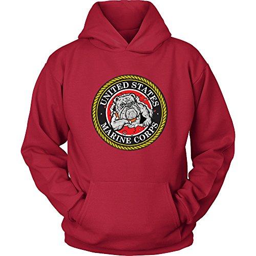 Usmc Bulldog Sweatshirt - USMC Hoodie - Marines Bulldog Logo Hoodie - Marine Corps USMC Sweatshirt Hoodie - US Army Shirt - Special Forces (Red, 4XLARGE)
