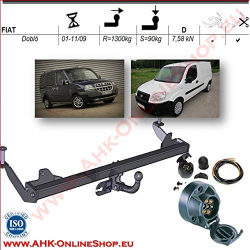 Rimorchio con fascio 7 pin | Fiat Doblo di 2001 A 2009/gancio 'collo di cigno smontabile con strumenti AHAKA AHDF003ES7