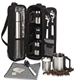 Picnic at Ascot - Deluxe Vienna Travel Coffee Tote for 2 Including Stainless Vacuum Flask, Cups, Creamer and Teaspoons