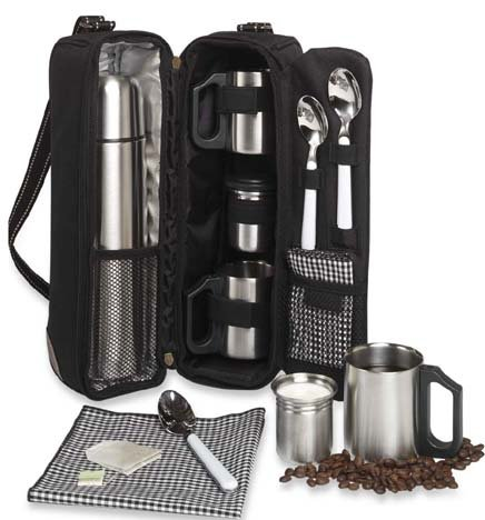 Picnic at Ascot - Deluxe Vienna Travel Coffee Tote for 2 Including Stainless Vacuum Flask, Cups, Creamer and Teaspoons by Picnic at Ascot