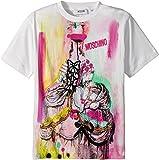 Moschino Kids Girl's Short Sleeve Victorian Graffiti Graphic T-Shirt (Little Kids/Big Kids) Cloud 8