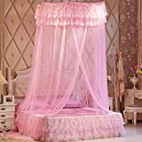 WP Ceiling Mosquito Nets Ceiling Princess Dome Book Double Bed With 1.8 M Bed , pink , 1.8m (6 feet) bed