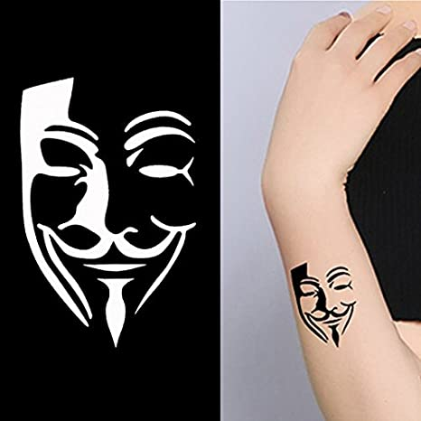 Henna Tattoo Stencil V for Vendetta Cara Diseño Pequeño mehndi ...