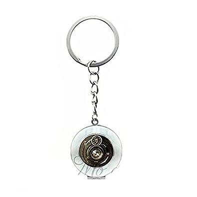 Lente Negro Fotografía en blanco medallón clave cadena ...
