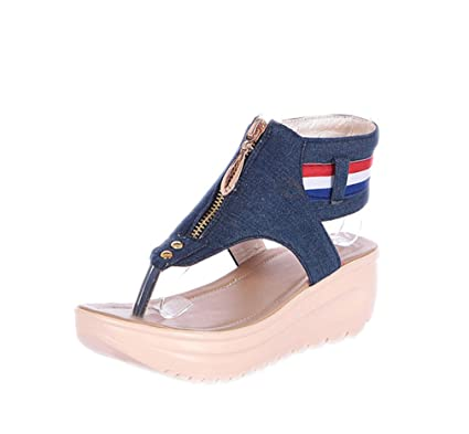 81f1c13416bd SUKULIS Women Sandals Zip Denim Wedges Summer Beach Shoes Fashion Platform Sandals  Women Shoes Blue 4.5