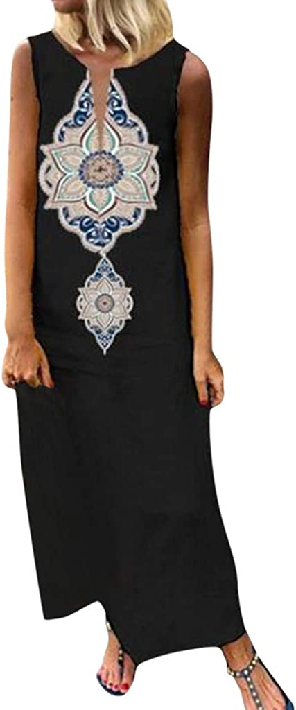 Obestseller Damen Kleid,Sexy Langer Rock,Frauen Sleeveless Print V-Ausschnitt Side Slit Bohemian Kleider Maxi-Kleid,Freizeitkleider f/ür Damen