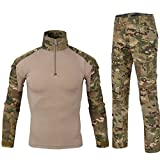 QCHENG Men's Military Tactical Shirt and Pants Multicam Army Camo Hunting Airsoft Paintball BDU Combat Uniform Dry Quick MC Large
