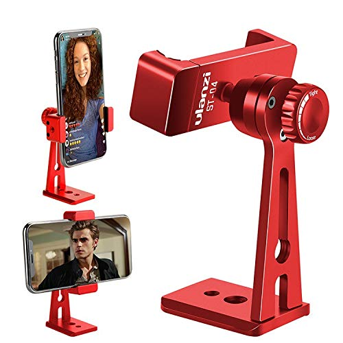 (YUOCU ST-04 Adjustable Metal Tripod Mount Adapter,Vertical 360 Rotation Phone Holder,Cell Phone Clip Stand,Arca-Style Quick Release Plate Compatible For iPhone,Huawei,Samsung,Other Smartphones (Red))