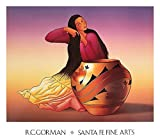 Dine Woman by R.C. Gorman Southwest Native American Indian Navajo Art Print Poster, Overall Size: 31x27.25, Image Size: 28.5x22.5