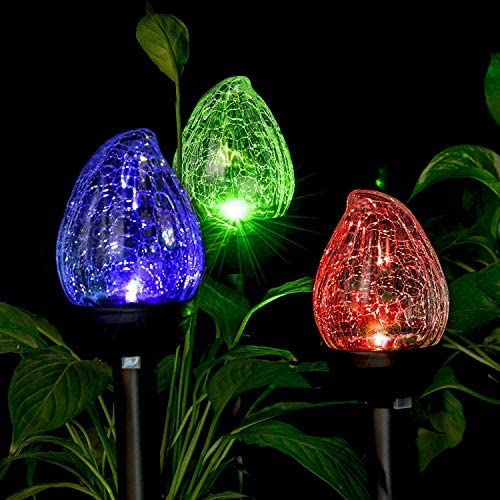 GIGALUMI Solar Lights Outdoor, Cracked Glass Flame Shaped Dual LED Garden Lights, Landscape Pathway Lights for Path, Patio, Yard-Color Changing and White-3 Pack