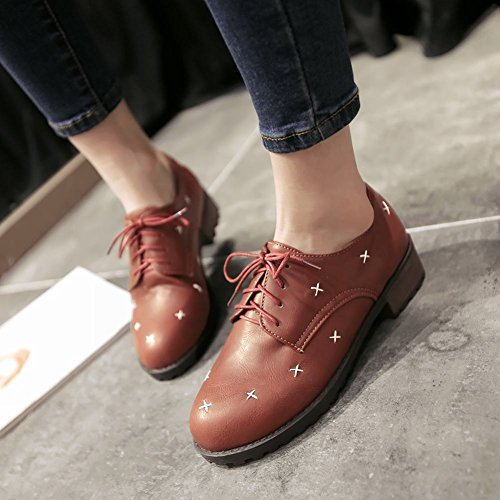 Carolbar Womens Lace Up Mode Confort Décontracté Talon Bas Oxfords Chaussures Marron