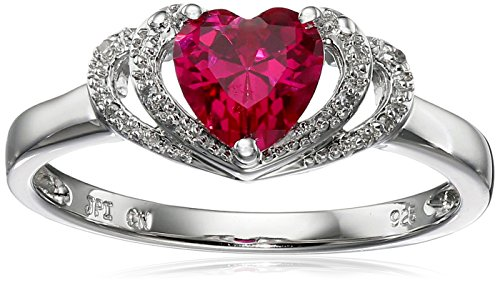 Sterling Silver Created-Ruby and Diamond Accent Open Halo Heart Ring, Size 8 Diamond Open Heart Ring