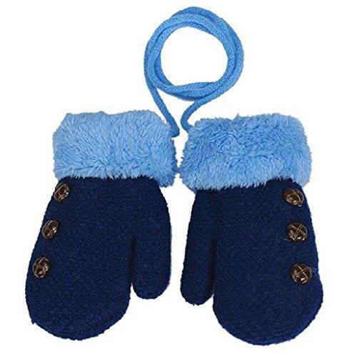 Auxma Por 0-4 años de edad,Guantes calientes de los niños muchachas de los bebés del niño de guantes de punto Guantes Leaf Azul