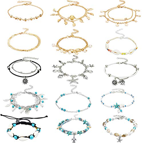 15 Pieces Ankle Chains Bracelets Adjustable Beach Anklet Foot Jewelry Set Anklets for Women Girls Barefoot (Multicolor ()