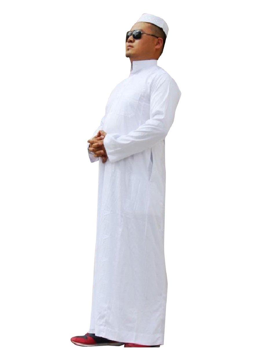 Highisa Men Stand Collar Long-Sleeve Islamic Fine Cotton Muslim Thobe White 50