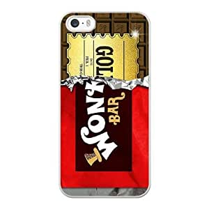 Wunatin Hard Case ,iPhone 5 5S Cell Phone Case White Willy Wonka Chocolate Bar [with Free Tempered Glass Screen Protector]5691265310208