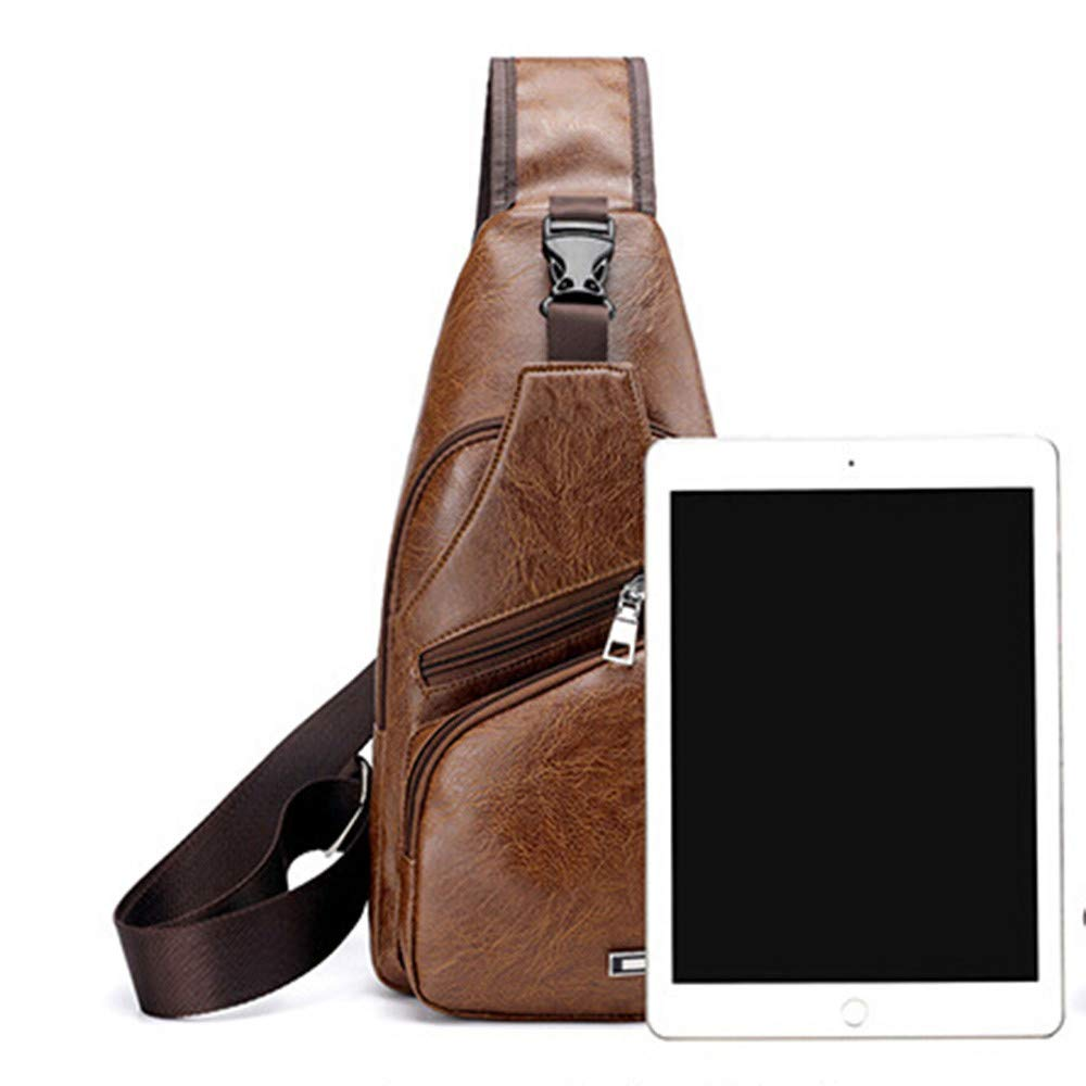 4c549730d037 Amazon.com  EnjoCho Men s Crossbody Bags Men s Chest Bag Designer Messenger  Bag Leather Shoulder Bags 2019 Travel (Brown)  Beauty