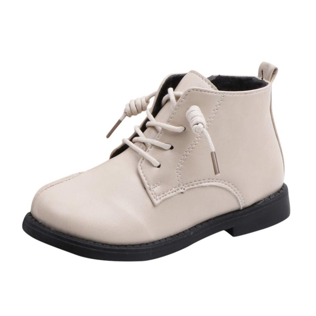 Yesmile Botas Niño Niña Zapatos de Superficie es de cuero Invierno Botas de Nieve Cálido Aire Libre Boots Escuela Fiesta Caminando tallas 21-30