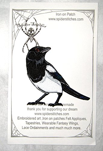 Black Billed Magpie Bird Iron on Patch