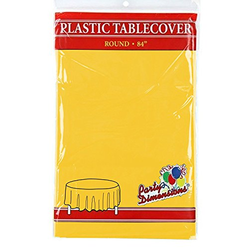 Sunshine Yellow Round Plastic Tablecloth - 4 Pack - Premium Quality Disposable Party Table Covers for Parties and Events - 84