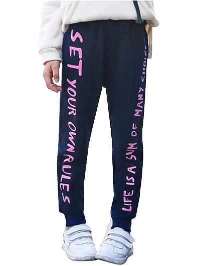 DianShao Pantalones De Chándal para Niñas Suelto Cómodo Pantalones ...