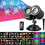 Christmas Projector Light,Water Wave Light, Led 2 in 1 Ripple Ocean Light with 12 Slides Patterns, Waterproof Outdoor/Indoor Landscape Decoration for Christmas, Thanksgiving, Birthday Party