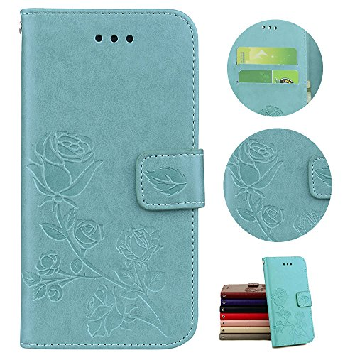 Price comparison product image Stysen Galaxy S6 Wallet Case, Galaxy S6 Flip Case, PU Leather Strap Retro Embossed Rose Flower Magnetic BookStyle Protection Case Cover for Samsung Galaxy S6-Green