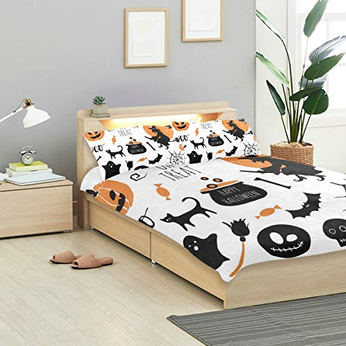 CANCAKA Halloween Duvet Cover Set Halloween Set Bats Spider Pumpkins Witch Design Bedding Decoration Queen/Full Size 3 PC Sets 1 Duvets Covers with 2 Pillowcase Microfiber Bedding Set Bedroom -