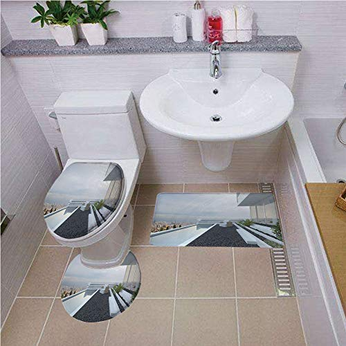 Bath mat set Round-Shaped Toilet Mat Area Rug Toilet Lid Covers 3PCS,Modern Decor,Contemporary Luxury House with Panoramic View Patio Pebbles Pool,White Baby Blue Grey ,Bath mat set Round-Shaped Toile ()
