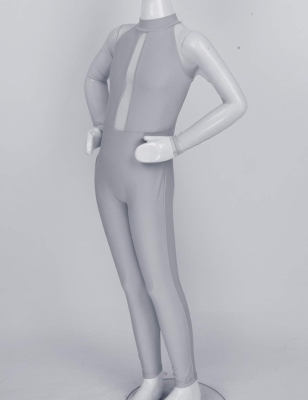 Agoky Kids Girls Mesh Mock Neck Long Sleeves Back Zipper Catsuit Unitard Ballet Dance Gymnastics Leotard