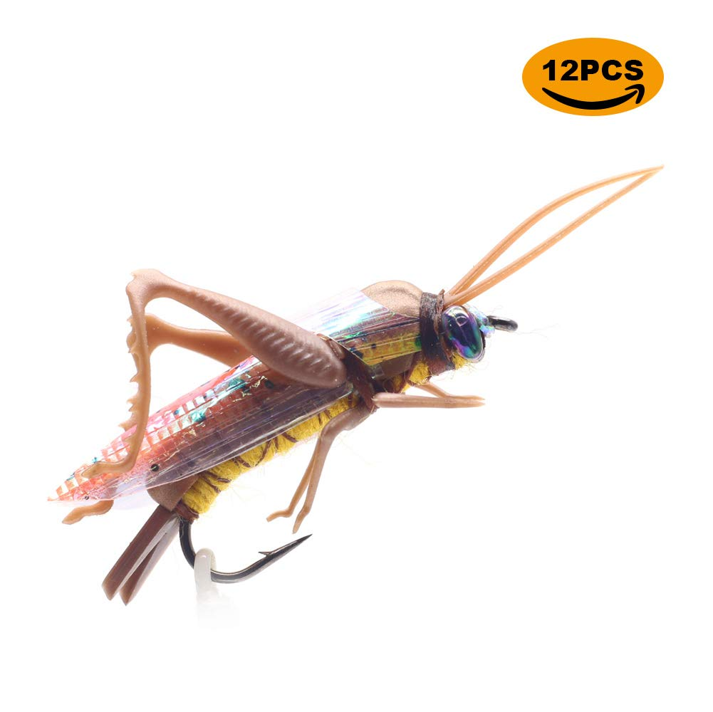 YZD Realistic Grasshopper Dry Fishing Flies Set of 12 Flies Cricket Hopper Fly Fishing Lure Trout Pike Carp Flyfishing (Small D12 Tan)