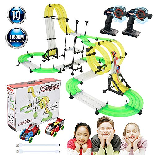 (Racing Track Car Toys, 171pcs 38.7ft DIY Rail Car Race Track Set 2 Cars 2 Remote Controller, Build Your Own 3D Super Track Car Playset, Birthday Party Festival Gift with Free Assembly for Children)