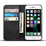 Cheap iPhone 6 Case, iPhone 6S Case, Ftongcase Premium Comfortable Leather Notebook Wallet Cover with Wrist Strap Stand Function Card Holder and ID Slot Flip Folio Protective Skin,Gift Packing (black)