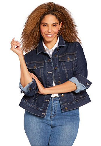 Women's Plus Size Stretch Denim Jacket Indigo,16 (Denim Stretch Blazer)