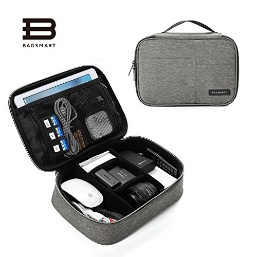 BAGSMART Electronics Travel Organizer Bag for Adaptors, Chargers, iPhone, iPad air, iPad mini, 9.7 iPad Pro, Kindle, Grey