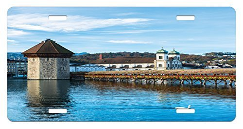 zaeshe3536658 Landscape License Plate, Panoramic Vieof Oak ChapeBridge Northern Lands Lake European Aged City Print, High Gloss Aluminum Novelty Plate, 6 X 12 Inches, Blue Brown by zaeshe3536658