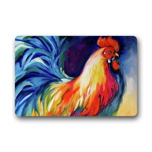 TysoOLDPhoneC Fantastic Dootmat Colorful Rooster Art Door Mat Rug Indoor/Outdoor/Front Door/Bathroom Mats Throw Pillow Cover