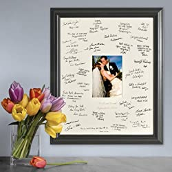 Creative Structures Personalized Gift - Wedding Wishes Signature Guest Book Picture Photo/Photograph Frame - Laser Etched/Engraved Matting