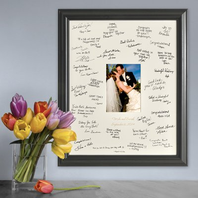 Personalized Gift - Wedding Wishes Signature Guest Book Picture Photo/Photograph Frame - Laser Etched / Engraved Matting Photo Frame Guest Book
