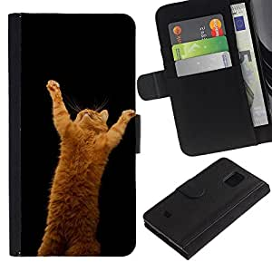 EuroCase - Samsung Galaxy S5 Mini, SM-G800, NOT S5 REGULAR! - garfield ginger playing cat jump red - Cuero PU Delgado caso cubierta Shell Armor Funda Case Cover