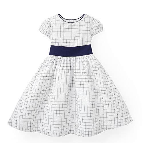 Hope & Henry Girls' Navy and White Check Classic Tie in The Back Dress with Blue - Baby Dress And White Girl Blue