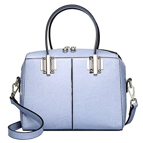 SAIERLONG Nueva Mujer Vino tinto Zurriago Del Cuero Genuino Shoppers y bolsos de hombro Azul