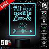 All You Need is Love and Coffee, Coffee lamp, Decoration lamp, 7 Color Mode, Awesome Gifts (MT255)