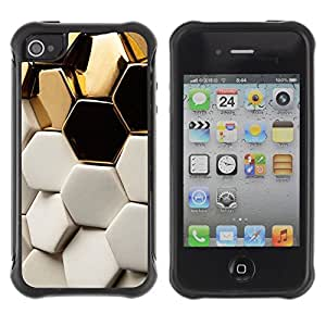 Suave Caso Carcasa de Caucho Funda para Apple Iphone 4 / 4S White Structure Hexagon Bees / JUSTGO PHONE PROTECTOR