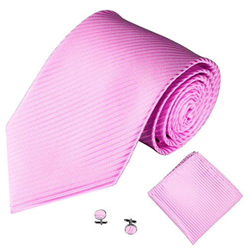 Liraly 3PCS Classic Men Party Tie Necktie Pocket Square Handkerchief Cuff Link (Pink) (Square Cufflinks Pair)