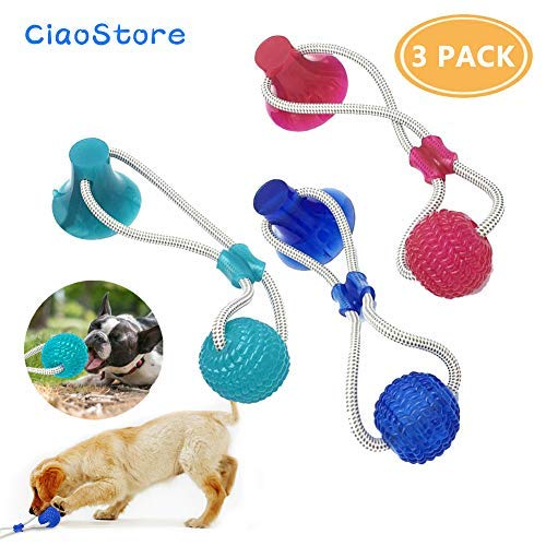 Dog Ropes Toy with Suction Cup – Pet Supplies Self-Playing Rubber Ball Toy with Suction Cup, Interactive Molar Chew Toy…