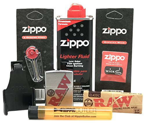 Bundle - 7 Items - RAW Zippo Lighter (Silver), Z-Clip, Lighter Fluid, Flints, Wick, RAW Natural 1 1/4 Rolling Papers with Hippie Butler Doob Tube