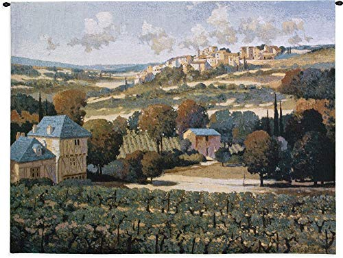 (Vineyards of Provence by Max Hayslette | Woven Tapestry Wall Art Hanging | European Landscape Tuscan Villa Wine Country Hillside Village | 100% Cotton USA 42X53)